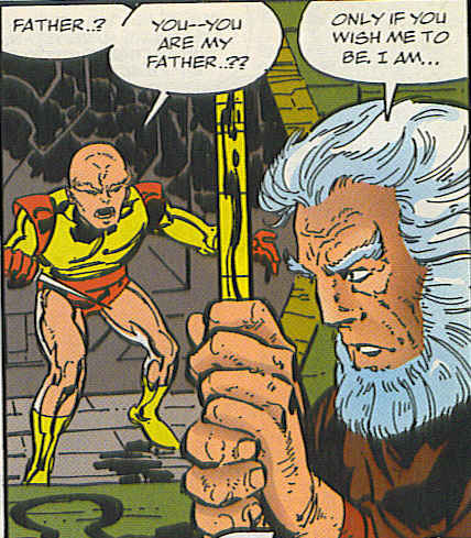 Highfather and the young Orion.