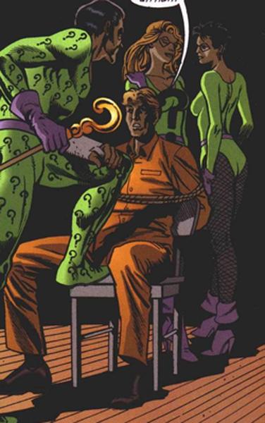 The Riddler interrogating Arthur Brown aka Cluemaster
