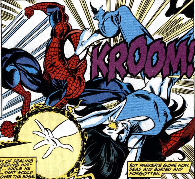 Shriek battles Spider-Man once again