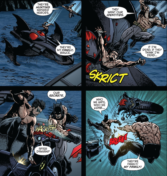 Not even Batman's bike can withstand the bat kick.