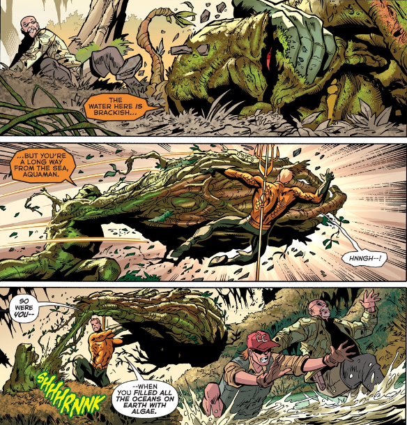 Aquaman gets a face full of green fist... or whatever that is.