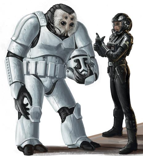 A Talz Stormtrooper and human female pilot