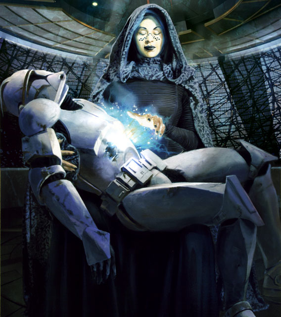Barriss Offee healing a wounded Clone Trooper