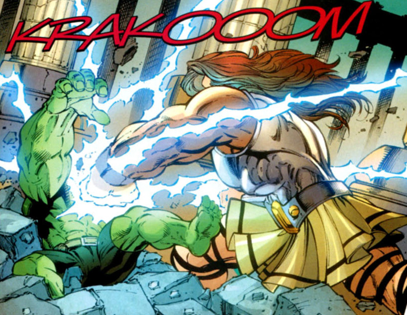Zeus humbles the Hulk with a severe beating