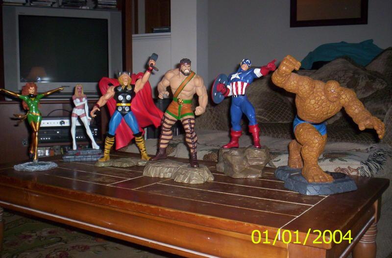Hard Hero Statues of my four favorite Marvel Heroes