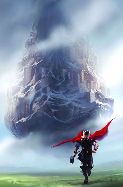 Thor with Asgard in the background