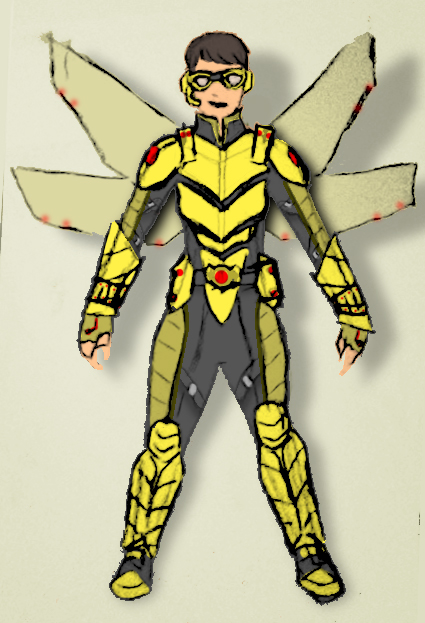 Wasp (Actual size) a thumbnail colored sketch