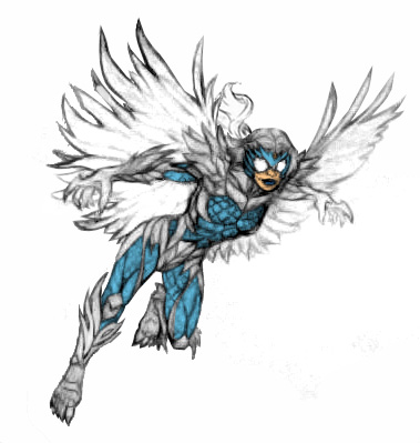 To go along with my New 52 Hawk redesign, here is my rough concept art for Dove's redesign.