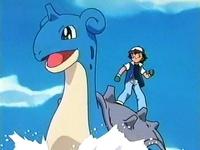 Ash riding Lapras