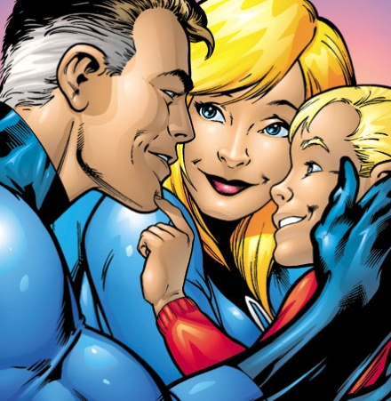 Mr Fantastic and Invisible Woman with their son Franklin Richards