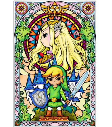 A stain glass showing the legend that is Zelda and Link