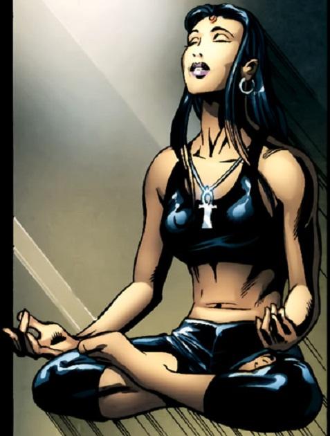 Raven, her daughter, meditating