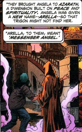 Arella helped by the monks