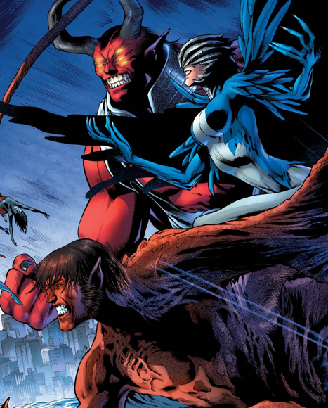 Trigon, Raven and Beast Boy against the Teen Titans