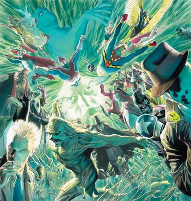 Alex Ross tribute poster to Alan Moore, with Constantine appearing in the lower left corner