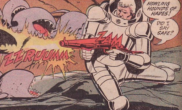 Manhunter 2070 using his disinto-blaster and armor