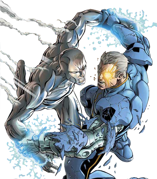 The Silver Surfer vs. Cable.