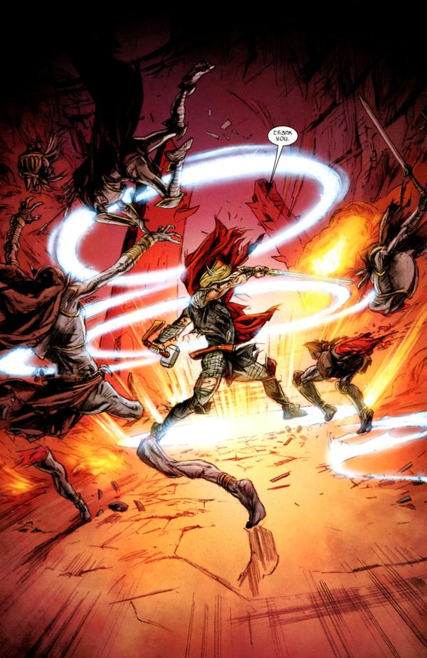 Thor fighting the Disir