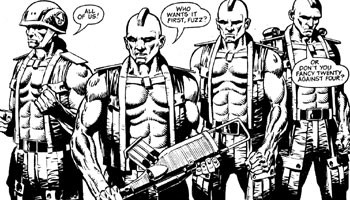 Helm, Gunnar, Rogue and Bagman, at a point where Rogue's three friends were briefly re-gened.