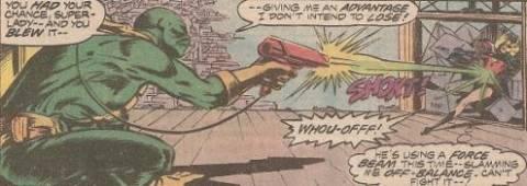 Steeplejack blasts Ms. Marvel with his acetylene gun.