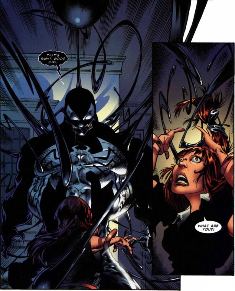 Venom using his tendrils to entrap his victim