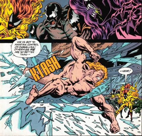 Separated from his symbiote, a naked Eddie Brock engages his symbiote's offspring...again