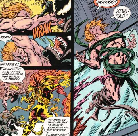 Eddie Brock...without his symbiote...fighting five symbiotes