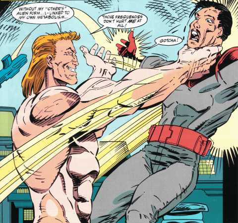 Eddie Brock displaying his muscular physique and impressive physical strength