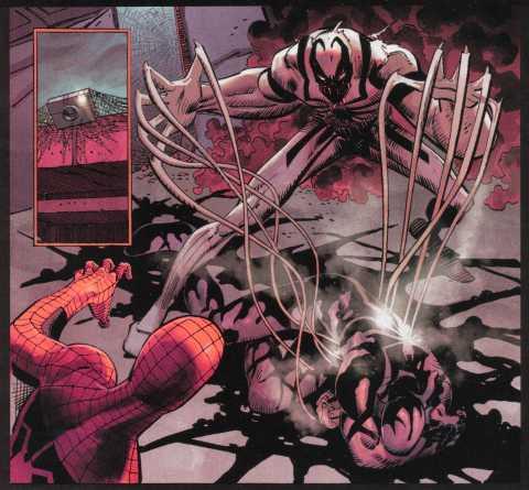 Anti-Venom killing the Venom symbiote bonded to Mac Gargan
