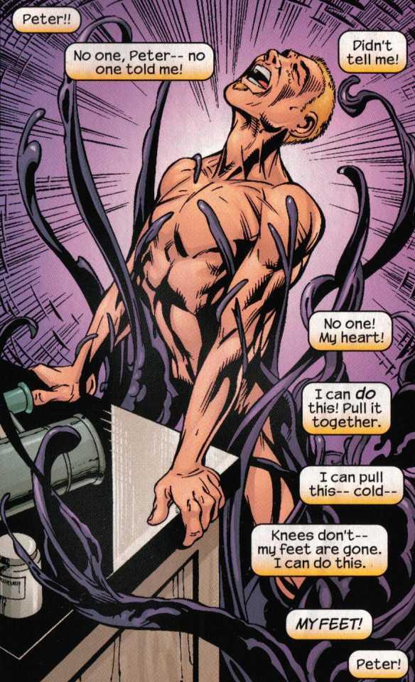 Eddie Brock, Jr. being consumed by the Venom symbiote