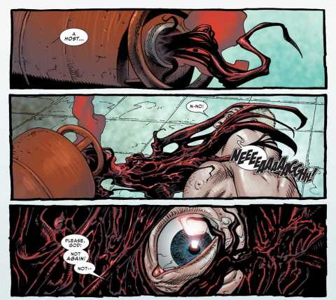 The Toxin symbiote forcibly bonding to Eddie Brock