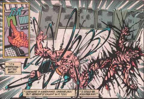Sonic Barrage! The Venom & Carnage symbiotes tearing from Eddie Brock & Cletus Kasady's bodies