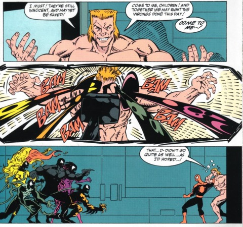 Separated from his symbiote, a naked Eddie Brock engages his symbiote's offspring