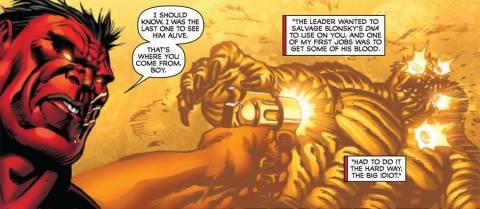 Red Hulk explaining how Rick became A-Bomb