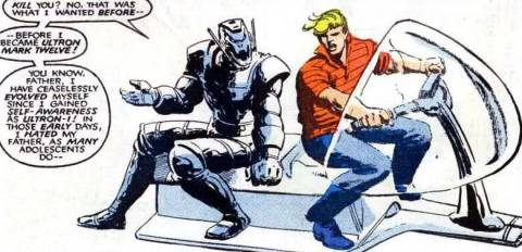 Ultron-12 and Hank, during his tenure with the West Coast Avengers.