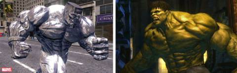 Hulk and Iron Clad (from the video game) getting ready to battle it out!