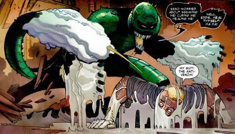 Osborn's venom dissolves the Anti-Venom suit