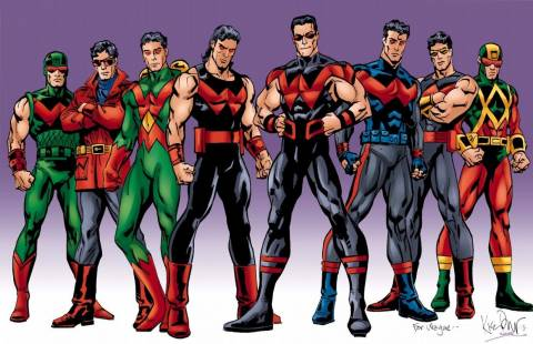 Wonder Man's various costumes over the years.