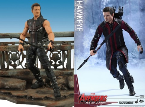 The Marvel Select Hawkeye from the first film and the Hot Toys Hawkeye from the sequel