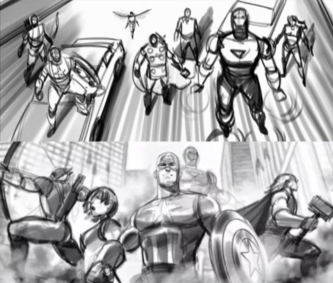 Animatics showing the Wasp during the final battle