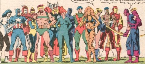 Both teams of Avengers together