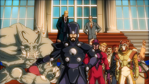 Dragon Man (left) with the Frightful Four in FF: WGH