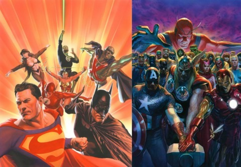 Depictions of DC and Marvel's heroes by Ross