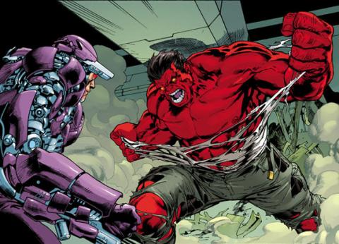 Machine Man vs Red Hulk