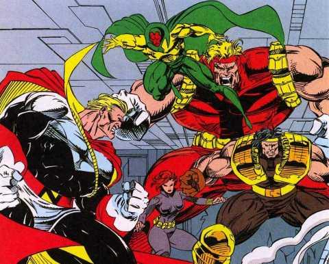 Nefarius battles the Avengers