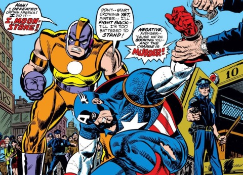 Captain America defeated by Moonstone