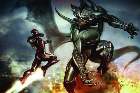 Iron Man battles a Makluan
