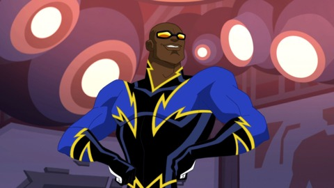Black Lightning showing off his physique.