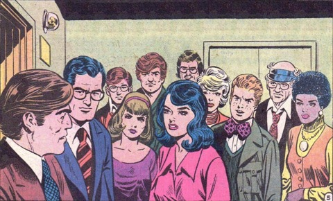 From left to right: Morgan Edge, Clark Kent, Percy Bratton, Margaret