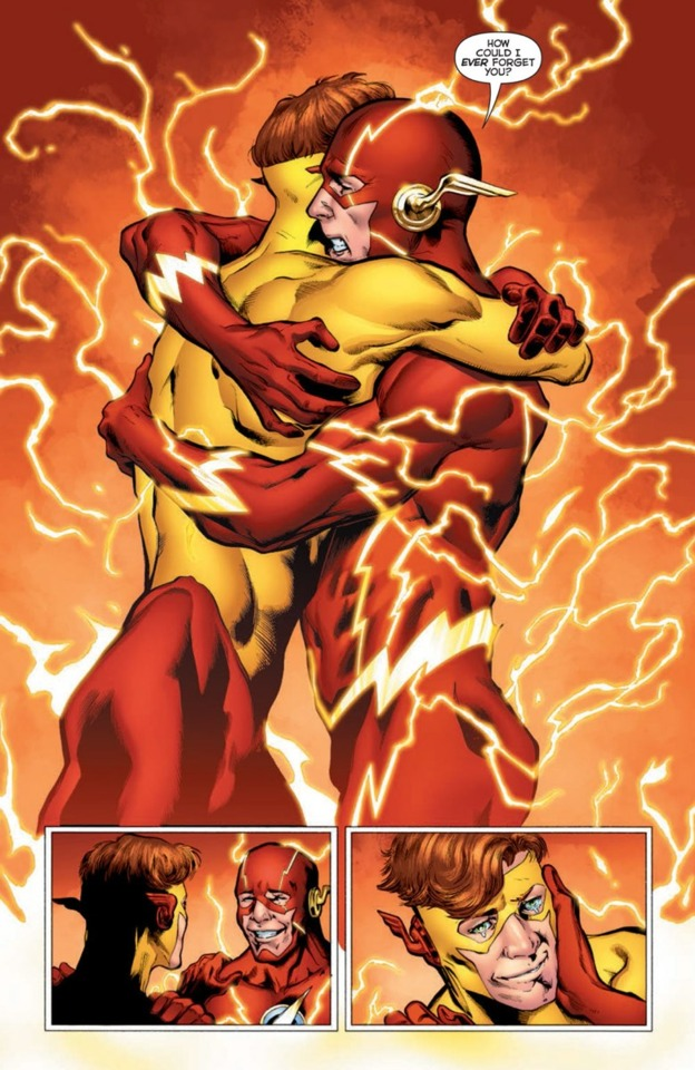 Wally pulled out of the Speed Force by Barry Allen who remembers him.